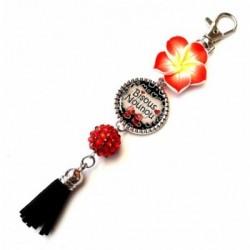 Porte clés, bijoux de sacs, coffret cadeau inclus, cadeau personnalisé, exotique, fleur, pompon, nounou, enfant