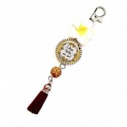 Porte clés, bijoux de sacs, coffret cadeau inclus, cadeau personnalisé, exotique, fleur, pompon, pour tata en or