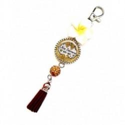 Porte clés, bijoux de sacs, coffret cadeau inclus, cadeau personnalisé, exotique, fleur, pompon, pour femme en or