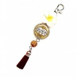 Porte clés, bijoux de sacs, coffret cadeau inclus, cadeau personnalisé, exotique, fleur, pompon, pour belle-fille en or