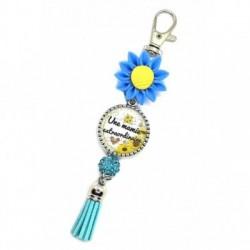Porte clés, bijoux de sacs, coffret cadeau inclus, cadeau personnalisé, exotique, fleur, pompon, une mamie extraordinaire