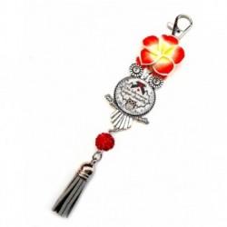 Porte clés, bijoux de sacs, coffret cadeau inclus, cadeau personnalisé, exotique, fleur, pompon, belle-maman, belle-mère, famille