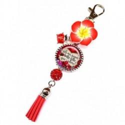 Porte clés, bijoux de sacs, coffret cadeau inclus, cadeau personnalisé, exotique, fleur, pompon, belle-fille, famille