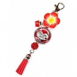 Porte clés, bijoux de sacs, coffret cadeau inclus, cadeau personnalisé, exotique, fleur, pompon, fille, famille
