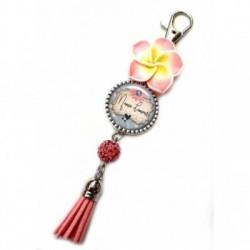 Porte clés, bijoux de sacs, coffret cadeau inclus, cadeau personnalisé, exotique, fleur, pompon, mémé, fête des mamies, famille