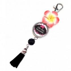 Porte clés, bijoux de sacs, coffret cadeau inclus, cadeau personnalisé, exotique, fleur, pompon, nièce, famille