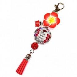Porte clés, bijoux de sacs, coffret cadeau inclus, cadeau personnalisé, exotique, fleur, pompon, soeur, famille