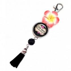 Porte clés, bijoux de sacs, coffret cadeau inclus, cadeau personnalisé, exotique, fleur, pompon, tata, famille