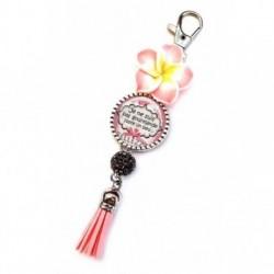 Porte clés, bijoux de sacs, coffret cadeau inclus, cadeau personnalisé, exotique, fleur, pompon, gourmandise, je ne suis pas gourmande juste un peu