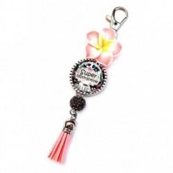 Porte clés, bijoux de sacs, coffret cadeau inclus, cadeau personnalisé, exotique, fleur, pompon, laborantine, médical