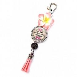 Porte clés, bijoux de sacs, coffret cadeau inclus, cadeau personnalisé, exotique, fleur, pompon, infimière, médical
