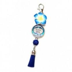 Porte clés, bijoux de sacs, coffret cadeau inclus, cadeau personnalisé, exotique, fleur, pompon, kiné, médical