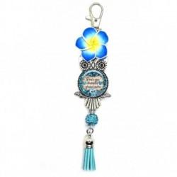 Porte clés, bijoux de sacs, coffret cadeau inclus, cadeau personnalisé, exotique, fleur, pompon, pour une chouette grand-mère