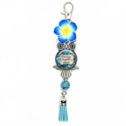 Porte clés, bijoux de sacs, coffret cadeau inclus, cadeau personnalisé, exotique, fleur, pompon, pour une chouette filleule