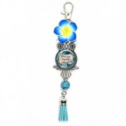 Porte clés, bijoux de sacs, coffret cadeau inclus, cadeau personnalisé, exotique, fleur, pompon, pour une chouette belle-fille