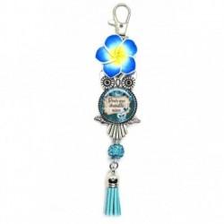 Porte clés, bijoux de sacs, coffret cadeau inclus, cadeau personnalisé, exotique, fleur, pompon, pour une chouette niece
