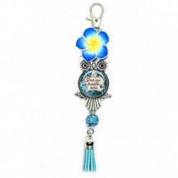 Porte clés, bijoux de sacs, coffret cadeau inclus, cadeau personnalisé, exotique, fleur, pompon, pour une chouette mémé
