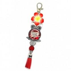 Porte clés, bijoux de sacs, coffret cadeau inclus, cadeau personnalisé, exotique, fleur, pompon, pour une chouette mamie