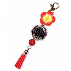 Porte clés, bijoux de sacs, coffret cadeau inclus, cadeau personnalisé, exotique, fleur, pompon, pole dance, sport