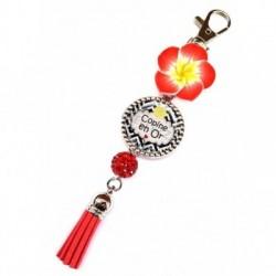 Porte clés, bijoux de sacs, coffret cadeau inclus, cadeau personnalisé, exotique, fleur, pompon, copine, amitié