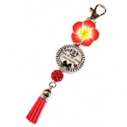 Porte clés, bijoux de sacs, coffret cadeau inclus, cadeau personnalisé, exotique, fleur, pompon, faire de ses rêves une réalité, citation