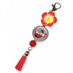 Porte clés, bijoux de sacs, coffret cadeau inclus, cadeau personnalisé, exotique, fleur, pompon, merci, courtoisie