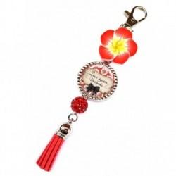 Porte clés, bijoux de sacs, coffret cadeau inclus, cadeau personnalisé, exotique, fleur, pompon, live your dream ,citation
