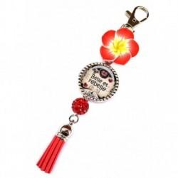Porte clés, bijoux de sacs, coffret cadeau inclus, cadeau personnalisé, exotique, fleur, pompon, j'ai un sale caractère, humeur