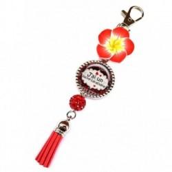 Porte clés, bijoux de sacs, coffret cadeau inclus, cadeau personnalisé, exotique, fleur, pompon, belle et rebelle, humeur