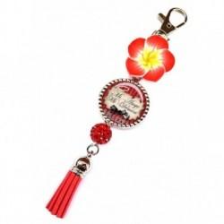 Porte clés, bijoux de sacs, coffret cadeau inclus, cadeau personnalisé, exotique, fleur, pompon, mi ange mi démon, humeur
