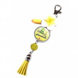 Porte clés, bijoux de sacs, coffret cadeau inclus, cadeau personnalisé, exotique, fleur, pompon, une avs phénomanale