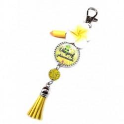 Porte clés, bijoux de sacs, coffret cadeau inclus, cadeau personnalisé, exotique, fleur, pompon, une prof phénomanale