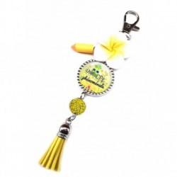 Porte clés, bijoux de sacs, coffret cadeau inclus, cadeau personnalisé, exotique, fleur, pompon, uen cpe phénomanale
