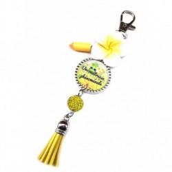 Porte clés, bijoux de sacs, coffret cadeau inclus, cadeau personnalisé, exotique, fleur, pompon, une maitresse phénomanale