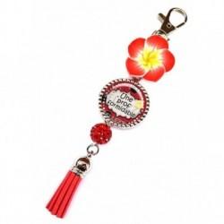 Porte clés, bijoux de sacs, coffret cadeau inclus, cadeau personnalisé, exotique, fleur, pompon, prof, scolaire