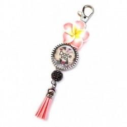 Porte clés, bijoux de sacs, coffret cadeau inclus, cadeau personnalisé, exotique, fleur, pompon, dolce vita, bonheur, prospérité