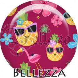 Cabochon verre, cabochon resine, ananas, fruit, été, exotique, tropical, nature