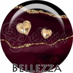 Cabochon verre, cabochon resine, abstrait, glitters doré, violine, agate, illustration