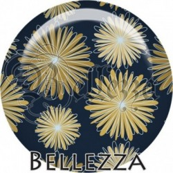Cabochon verre, cabochon resine, farandole, illustration, couleur sable, beige, bleu, azur, moutarde