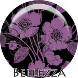 Cabochon verre, cabochon resine, farandole, illustration, couleur violet, blanc, noir, purple, aubergine