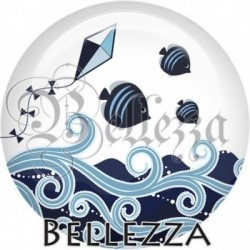 Cabochon verre, cabochon resine, farandole bleu marine, ciel, orange, fleur, marin