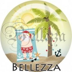 Cabochon verre, cabochon resine, père-noel, soleil, marin, été, mer, vacances