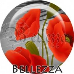 Cabochon verre, cabochon resine, coquelicot, fleur, nature
