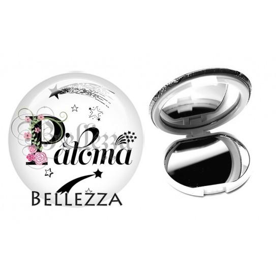Miroir de poche compact, 58mm, coffret cadeau inclus, cadeau personnalisé, alphabet, lettre P