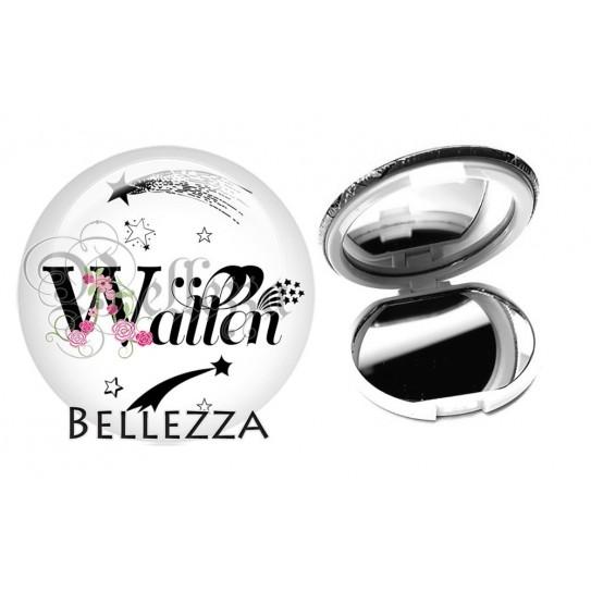 Miroir de poche compact, 58mm, coffret cadeau inclus, cadeau personnalisé, alphabet, lettre W