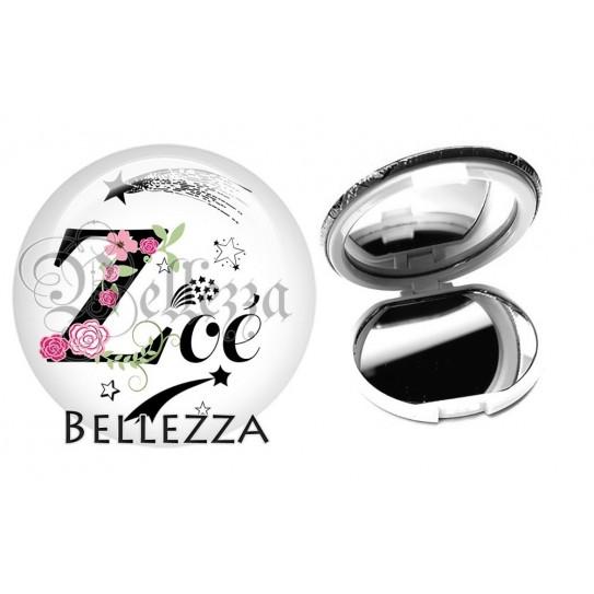 Miroir de poche compact, 58mm, coffret cadeau inclus, cadeau personnalisé, alphabet, lettre Z