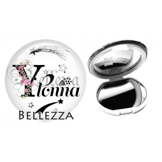 Miroir de poche compact, 58mm, coffret cadeau inclus, cadeau personnalisé, alphabet, lettre Y