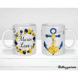 Mug céramique, jolie marinière, marin, été, ancre, recto verso, personnalisable