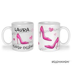 Mug céramique, super collègue, chaussures, escarpins, fashion, recto verso, personnalisable