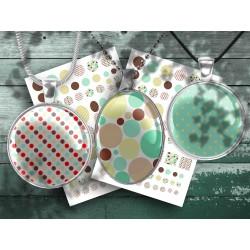 Images digitales rétro pois multicolores, images pour cabochon à imprimer, 25, 20,18,12, 30x40, 18x25, 13x18mm